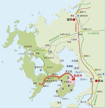 車ルート(長崎~島原)