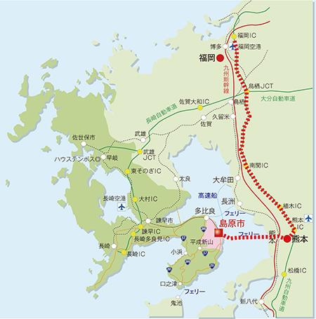 w450車ルート(福岡~熊本~島原)