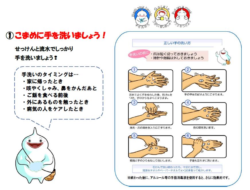 (1)こまめに手洗い